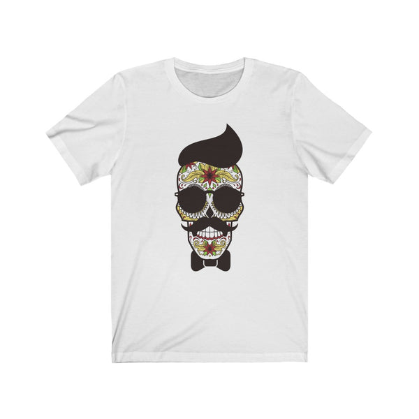 Unisex Halloween Hipster Skull Mustache Day Of The Dead Jersey Short Sleeve Tee