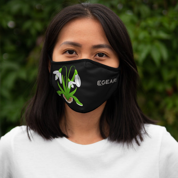 White  Floral Ornaments Fitted Polyester Face Mask