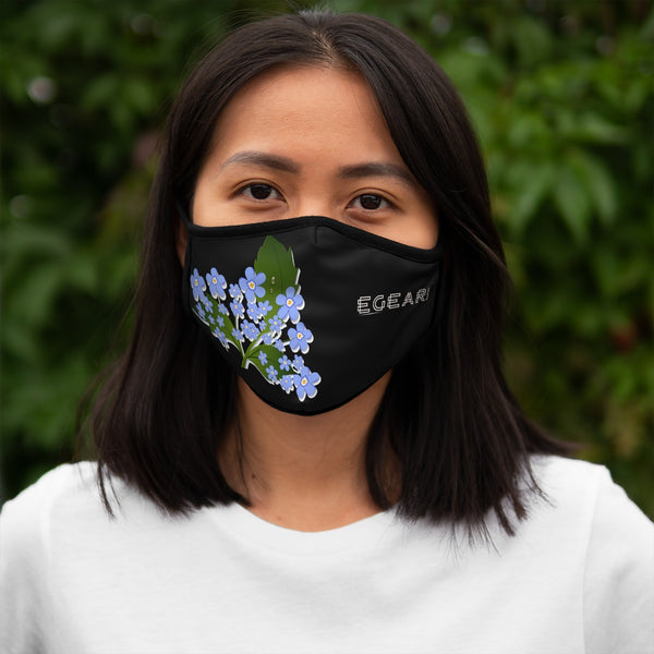 Blue And Yellow Floral Ornaments Flowers Fitted Polyester Face Mask