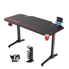55 Inch Ergonomic Gaming Desk E-sports Computer Table with Mouse Pad Gamer Tables Pro Workstation with USB Gaming Handle Rack