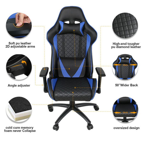 Ergonomic Computer Gaming Chair Racing High Back PU Leather Adjustable Angle with Headrest Lumbar Support