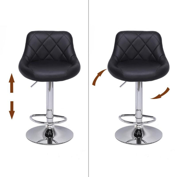 2 PCs Modern Adjustable Rhombus Print Backrest Bar Chairs For LAN Center And Restaurants Living Room Office Cafe Furniture Kit 360 Degree Rotation Seat Stool