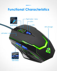 Rocketek USB wired Gaming Mouse 3200 DPI 7 buttons optical mice with led backlight ergonomic for overwatch game laptop computer