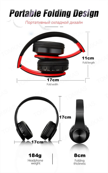 TOMKAS Wireless Headphones Bluetooth Headset Foldable Headphone Stereo Gaming Earphone With Mic for Mobile Phone Support TF Card