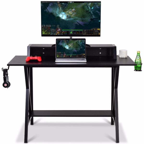 Giantex Gaming Desk All-In-One Professional Gamer Desk Cup Headphone Holder And Power Strip