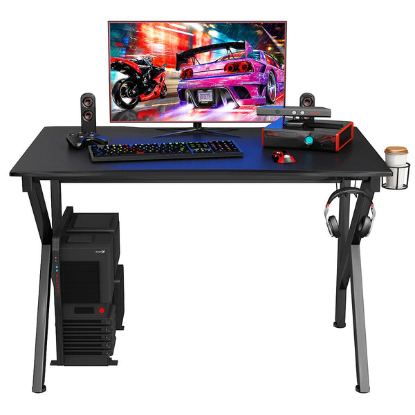 Costway Gaming Desk Gamers Computer Table E-Sports K-Shaped W/ Cup Holder Hook Home New