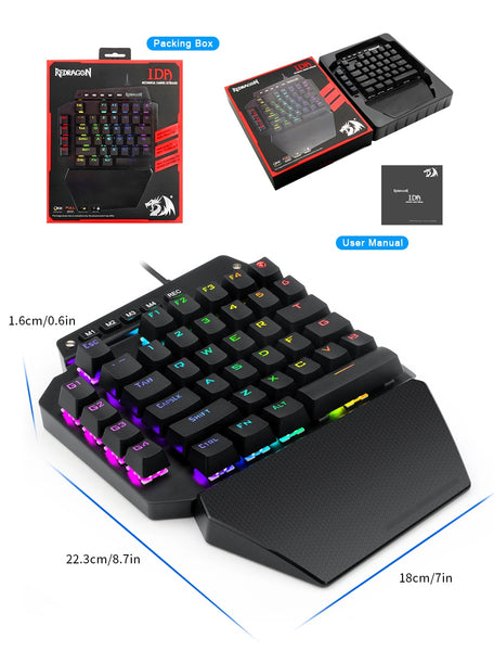 Redragon K583 RGB One-handed Mechanical Gaming Keyboard Blue Switch 4 Macro keys For Android/ios/windows For FPS  LOL/PUBG Games