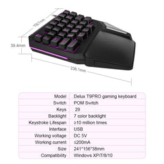Programmable Keys Delux T9 Pro Single Handed Game keyboard one hand Ergonomic Gaming Keypad For PUBG gun PC Laptop