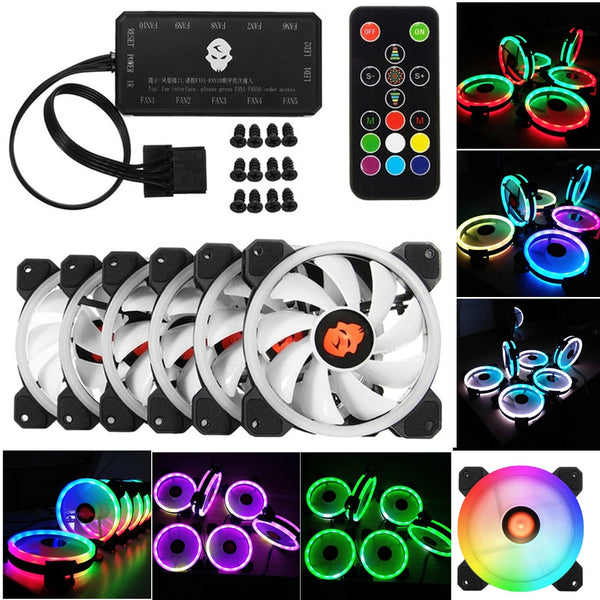 LESHP 120mm Double Ring LED/RGB With Remote Control comes with 366 color Modes Case Fan (6PCS)