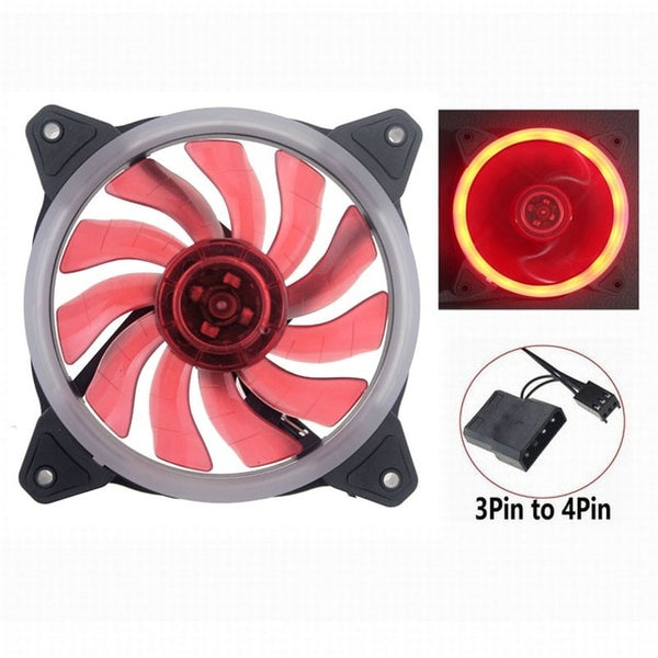GDSTIME Computer Case Fan 120mm LED/RGB Silent Fan for Computer Cases, CPU Coolers, and Radiators Ultra Quiet (2PCS)