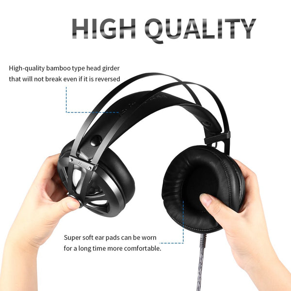 Gaming Headset Stereo Over-ear Gaming Headphones with LED Light Built-in Microphone Wired Game Earphones for PS4 PC Gamer