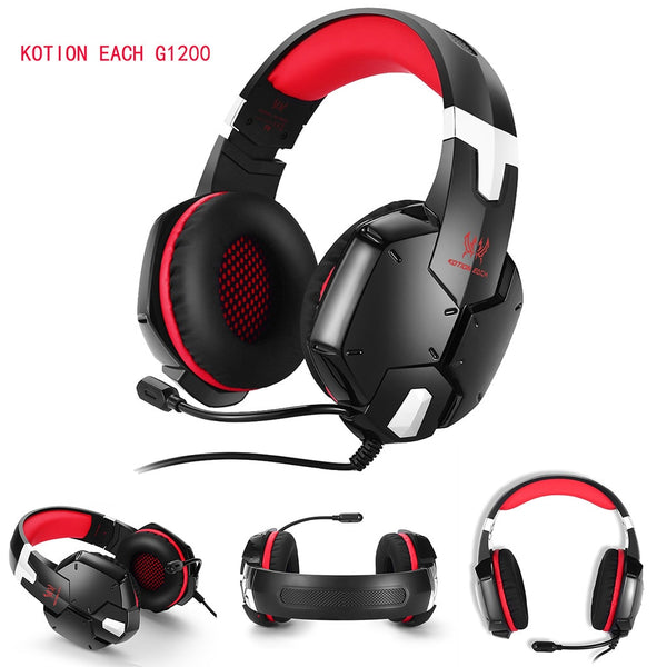 Earphones Wired Gaming Headset KOTION EACH G1200 Wired Shocking Bass With Microphone Headset Earset-L1204