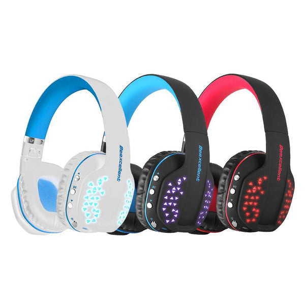 Q2 Bluetooth Wireless Headset Collapsible Noise Reduction Headphone Casque Gaming Headset With Mic LED Light