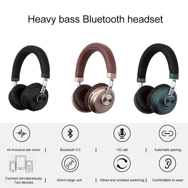 KISSCASE Bluetooth Wireless Headset Music Stereo Surround Gaming Headphone For Xiaomi Samsung Wireless Bluetooth Headset