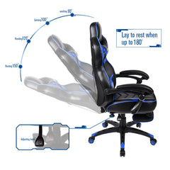 High Back Ergonomic Swivel Gaming Chair Racing Style Adjustable Recline Footrest