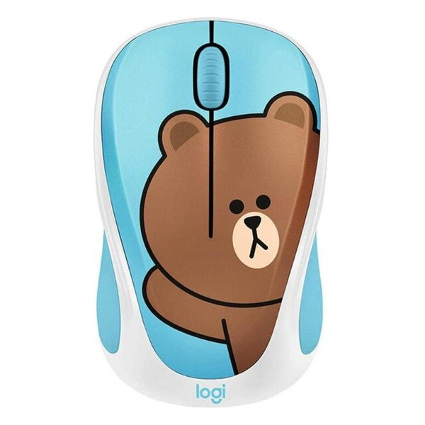 Cute Logitech LINE FRIENDS Wireless Mouse 2.4GHz Mini Cartoon USB Receiver Optical Sensor Office Gaming Mouse for PC Laptop