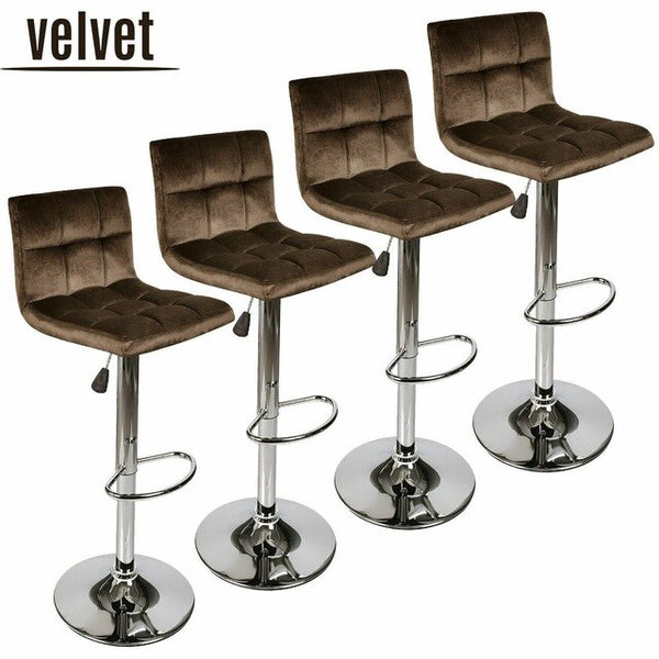 Set of 4 Multicolor Bar Stools Velvet Adjustable Swivel Pub Dining Chair