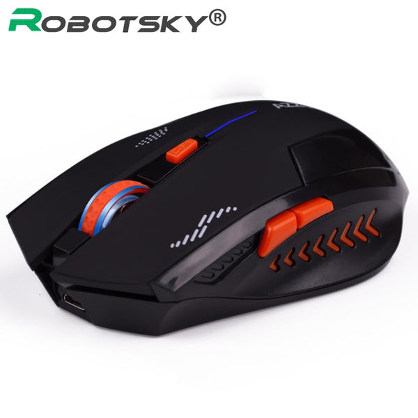 2.4Ghz Gaming Wireless Mouse Slient 2400 DPI 6 Buttons USB Mouse Ergonomic Design Scrub Black Noiseless Mouse for PC Laptop