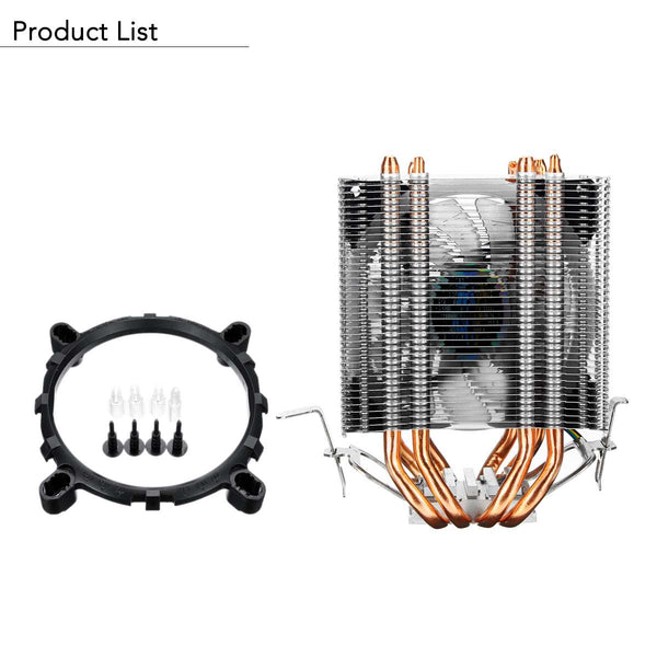 CPU Cooler Desktop Computer 4Pin RGB LED Fan Cooling Heatsink for Intel and AMD