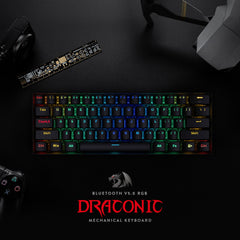 Redragon K530 Draconic 60% Compact RGB Wireless Mechanical Keyboard with Brown Switches and 16.8 Million RGB Lighting