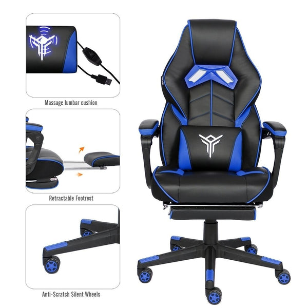 Blue Gaming Chair Ergonomic Massage High Back Office Recliner Adjustale Height
