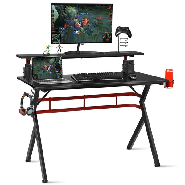 Ergonomic Gaming Computer Multifunctional Storage Desk Monitor Shelf Adjustable Foot Pad Smooth Carbon Fiber