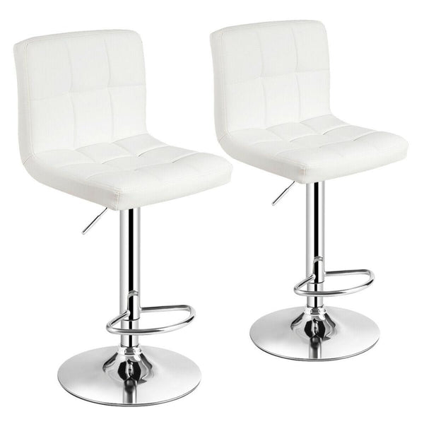 Set of 2 Adjustable Bar Stools PU Leather Swivel Kitchen Counter Pub Chair HW66492