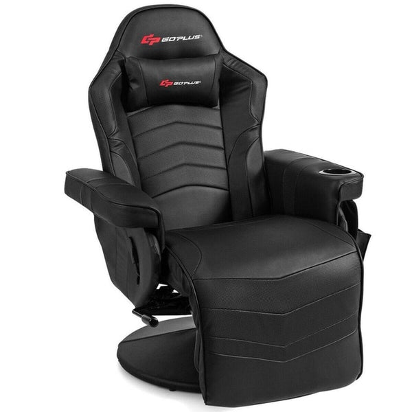 Massage Gaming Recliner Reclining Racing Chair Swivel w/Cup Holder & Pillow