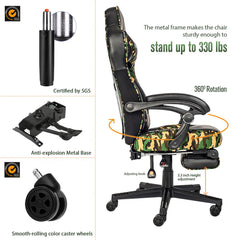 Camouflage Gaming Chair Ergonomic Massage High Back Office Recliner Adjustable Height