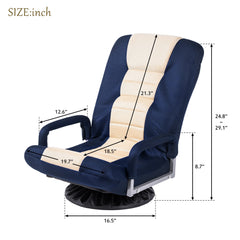 Blue/Beige Gaming Office Chairs 360 Degree Swivel Video Rocker Adjustable 7-Position Floor Executive Computer Chair Folding Sofa Lounger
