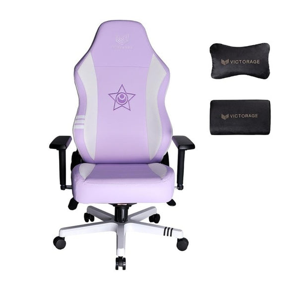 VICTORAGE Premium PU Leather Computer Gaming Chair Home Chair (Purple/White)