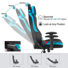 Black & Blue 360 Degree Swivel Chair, Gaming Chair, And Ergonomic Office Chair