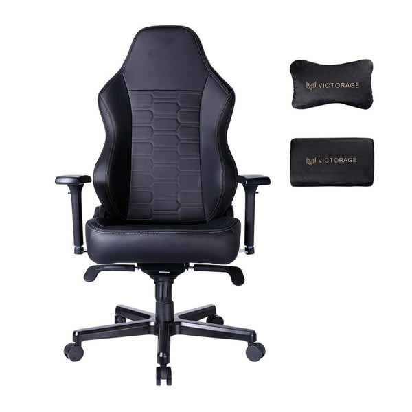 VICTORAGE Gaming Chairs Racing Office Computer Game Chair with Headrest and Lumbar Pillow Echo VE Series PU Leather(Carbon)