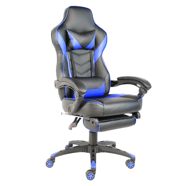Foldable Nylon Foot Gaming Chair Racing Chair Office Chair with Footrest Black & Blue