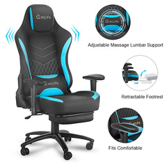 Black and Blue Gaming Chair Massage Office Chair Liftable Office Furniture Ergonomic Chair