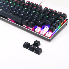 TKL Mechanical Keyboard multiple  Switches 81 keys rainbow LED Backlit Aluminum Gaming Keyboard with Detachable Cable Z88