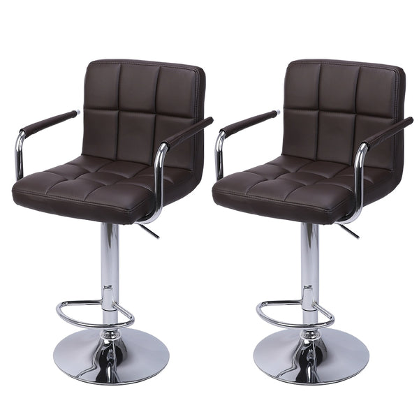 2Pcs 60-80cm Swivel Kitchen Bar Stool Chair with Cushion and Armrest Counter Height Swivel Stool Adjustable Pub Stool - US Stock