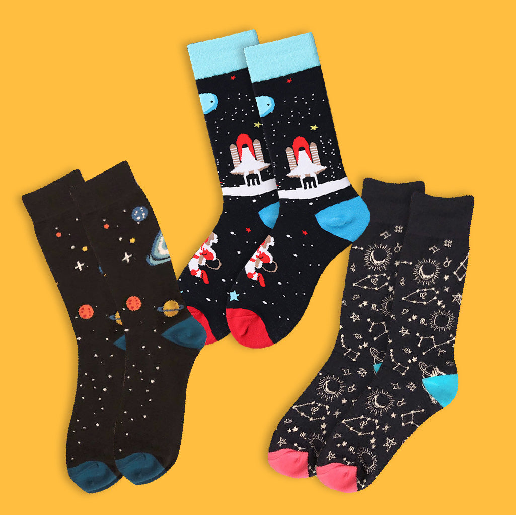 Space Themed Socks - Bundle of 3