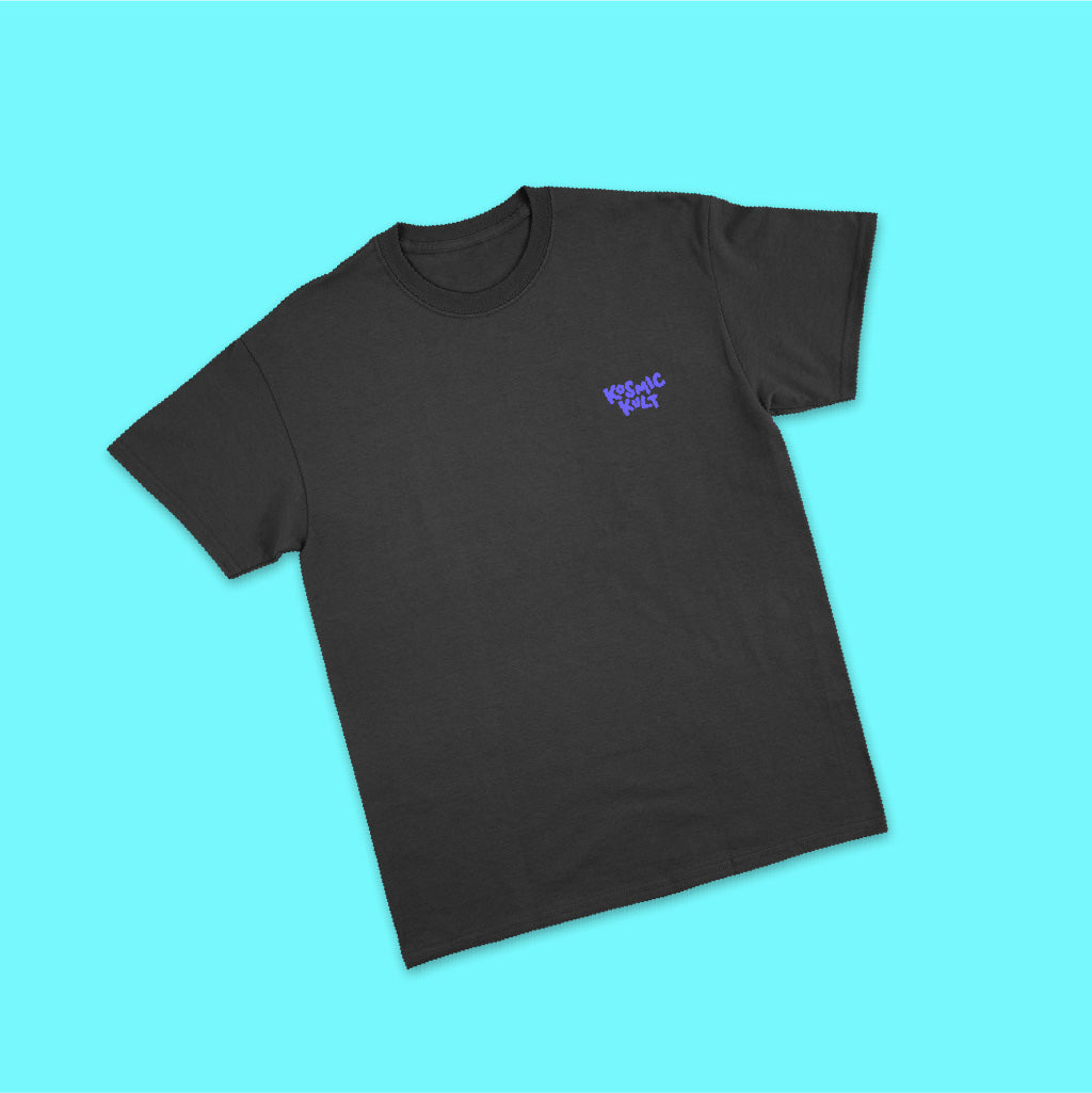 KosmicKult T-Shirt - Black with Violet Print