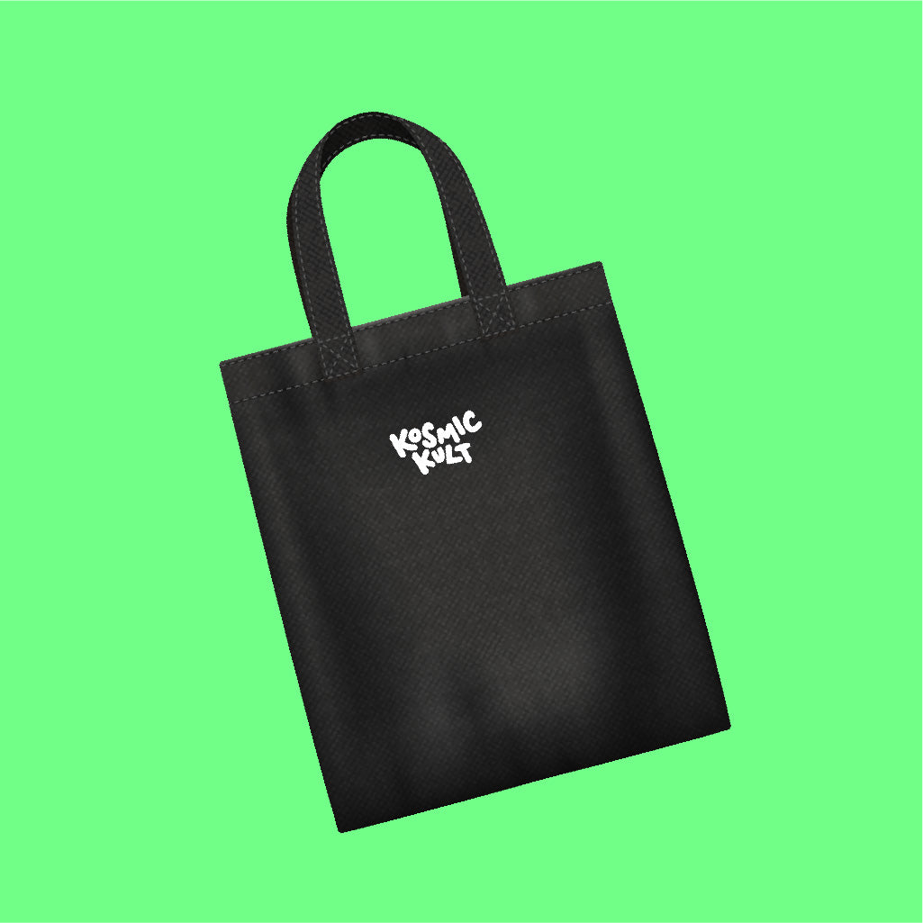 KosmicKult Tote Bag - Black with White Print