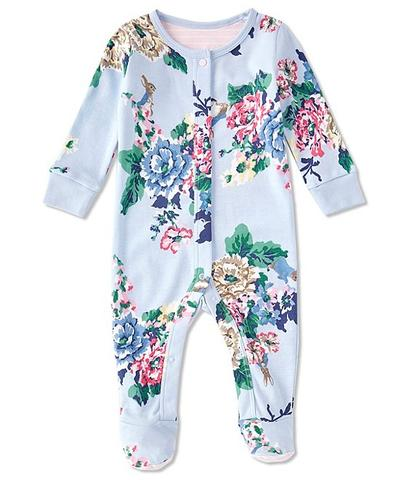 Joules Blue Razamataz Floral Footed Romper
