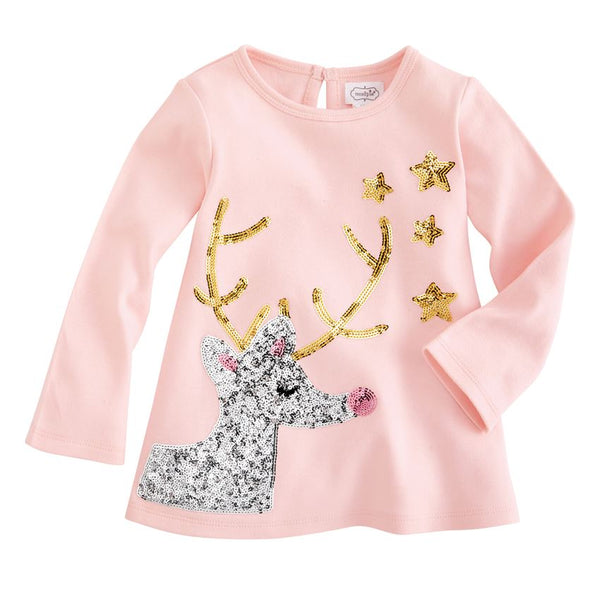 MUD PIE PINK REINDEER SPARKLE TUNIC