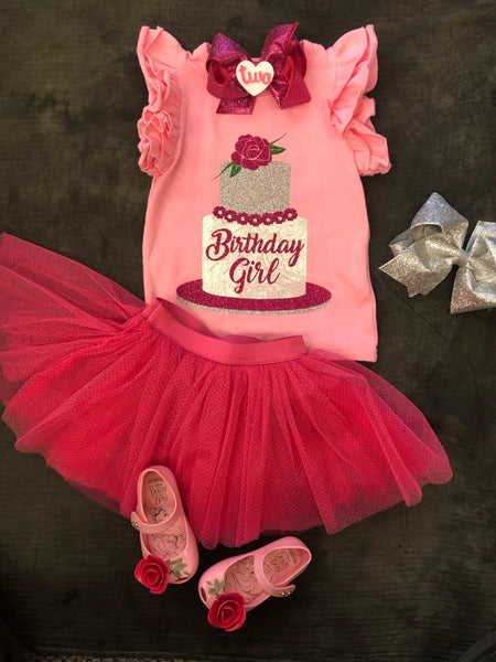 PINK BIRTHDAY GIRL TOP w/ SILVER CAKE