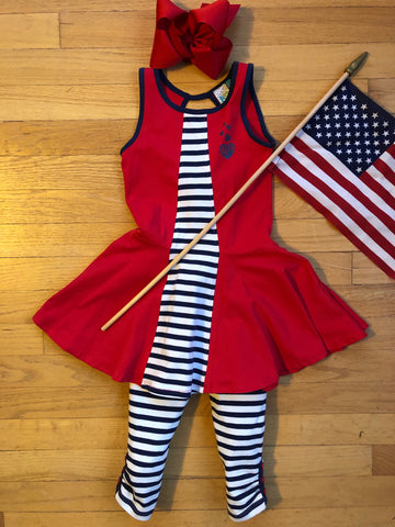 Two piece red, white and blue tunic set