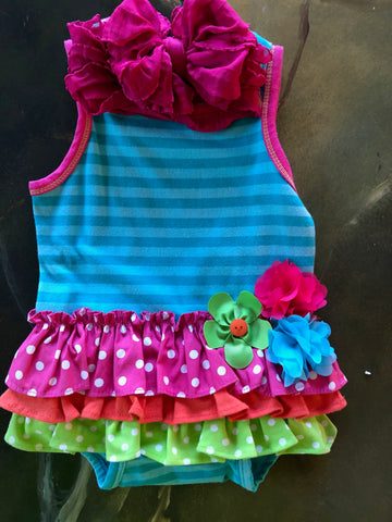 Rainbow Ruffled Romper