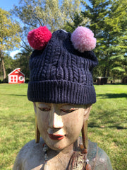 NAVY WITH PINK POM POM HAT
