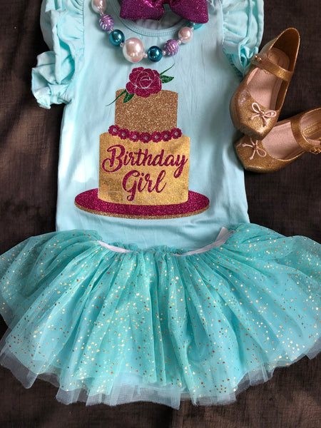 TURQUOISE TUTU WITH GOLD STARS
