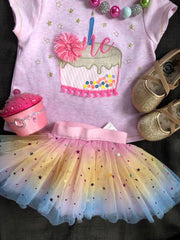 MUD PIE FIRST BIRTHDAY CAKE TUNIC
