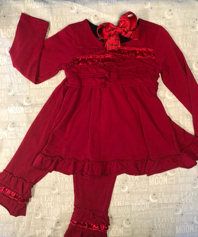RED COTTON KNIT TUNIC SET
