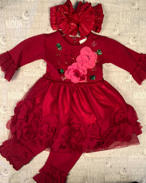 HAUTE BABY RED DRESS & LEGGINGS